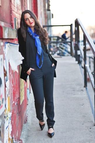 How to wear: black velvet blazer, black jumpsuit, black leather pumps, blue print scarf