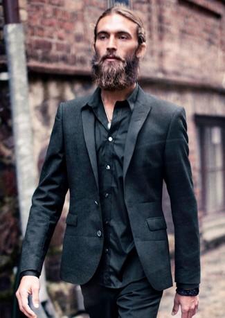 Men's Black Blazer, Black Long Sleeve Shirt, Black Chinos