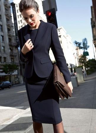How to wear: black blazer, black sheath dress, dark brown leather satchel bag