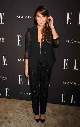 How to wear: black silk blazer, black silk sleeveless top, black sequin tapered pants, black suede pumps