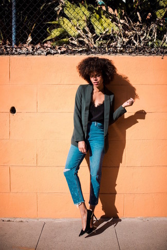 Show off your playful side in a black tank and blue distressed jeans. A pair of black suede pumps adds more polish to your overall look.  We're loving how perfect this one is for unpredictable fall weather.