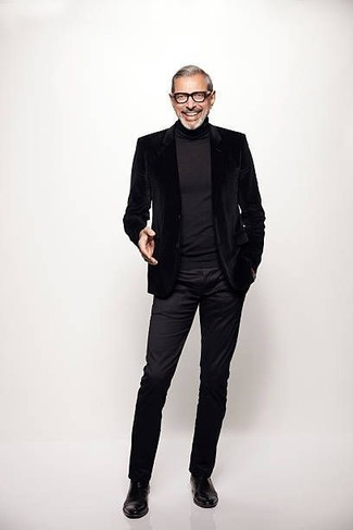How to wear: black velvet blazer, black turtleneck, black chinos, black leather chelsea boots