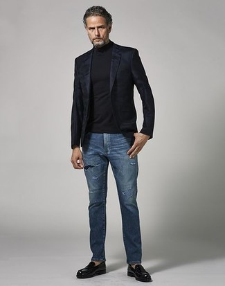 Black Leather Loafers Outfits For Men: A black blazer and blue ripped jeans are an easy way to introduce extra cool into your current styling routine. Complete this look with black leather loafers for an extra touch of style.