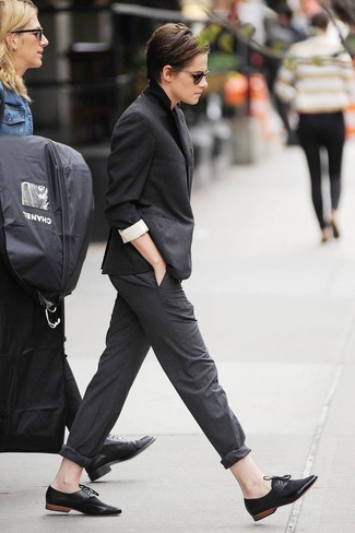 Kristen Stewart wearing Black Blazer, Charcoal Dress Pants, Black Suede Oxford Shoes