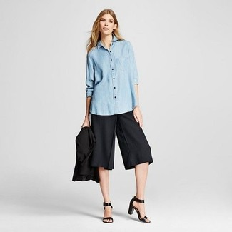 How to wear: black blazer, light blue chambray dress shirt, black culottes, black leather heeled sandals