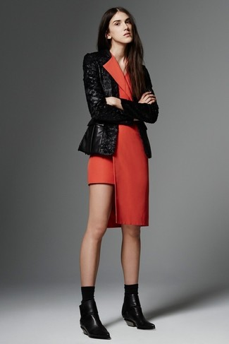How to Wear a Black and White Sequin Blazer For Women: Inject style into your daily fashion mix with a black and white sequin blazer and a red tuxedo dress. A pair of black leather ankle boots can integrate really well within a ton of outfits.