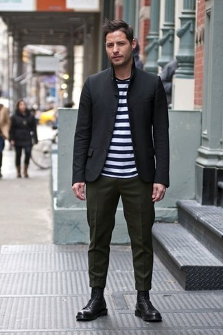 Men's Black Blazer, White and Black Horizontal Striped Crew-neck T-shirt, Olive Wool Dress Pants, Black Leather Dress Boots