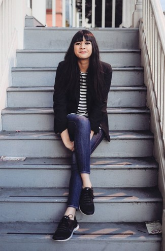 How to wear: black blazer, white and black horizontal striped long sleeve t-shirt, navy skinny jeans, black athletic shoes