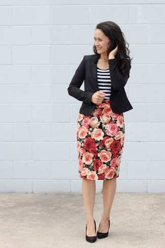 Women's Black Blazer, White and Black Horizontal Striped Tank, Black Floral Pencil Skirt, Black Suede Pumps
