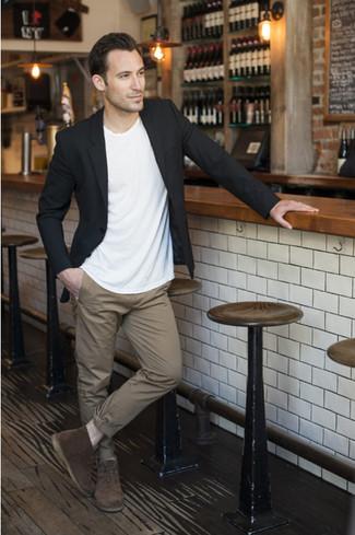 How to wear: black blazer, white crew-neck t-shirt, khaki chinos, dark brown suede desert boots