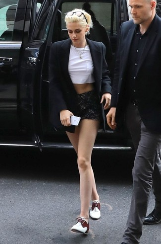 Kristen Stewart wearing Black Blazer, White Cropped Top, Black Lace Shorts, White Leather Oxford Shoes