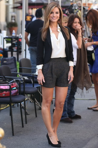 How to wear: black blazer, white silk dress shirt, black wool shorts, black suede wedge pumps