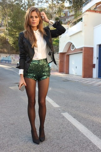 How to wear: black blazer, white dress shirt, green sequin shorts, charcoal suede pumps