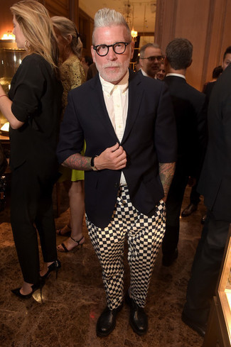 Nick Wooster wearing Black Blazer, White Dress Shirt, White and Black Check Chinos, Black Leather Chelsea Boots