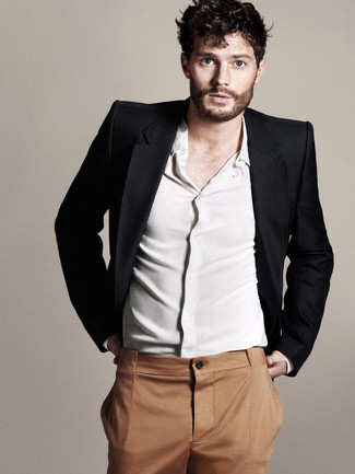 Jamie Dornan wearing Black Blazer, White Long Sleeve Shirt, Tobacco Dress Pants