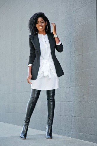 How to wear: black blazer, white shirtdress, black leather over the knee boots, silver watch