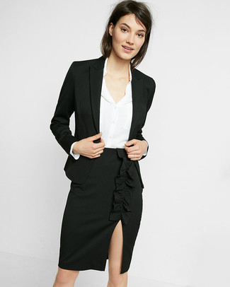How to wear: black blazer, white silk dress shirt, black slit pencil skirt