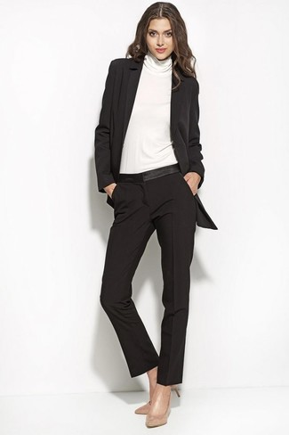 Women's Black Blazer, White Turtleneck, Black Dress Pants, Tan Suede Pumps