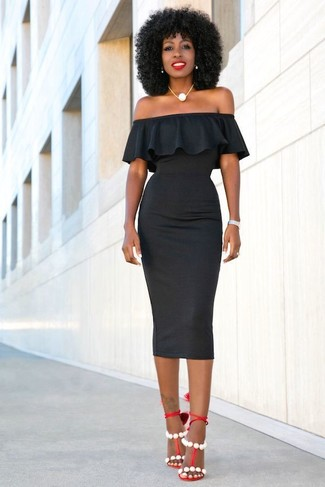 How to wear: black bodycon dress, red leather heeled sandals, white pearl necklace