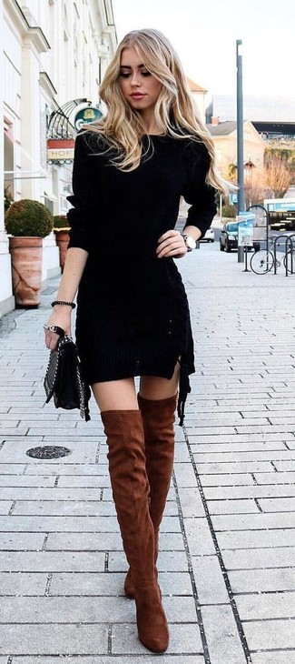 Tobacco Suede Over The Knee Boots Outfits: For a relaxed look with a twist, you can rely on a black knit bodycon dress. If you need to instantly up the style ante of this getup with one piece, why not complement your outfit with tobacco suede over the knee boots?