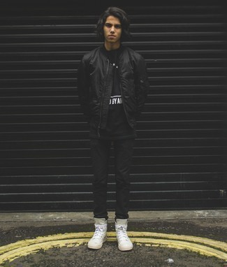 Teen Boy Fashion: What To Wear: For a casually dapper outfit, choose a black nylon bomber jacket and black chinos — these two pieces fit brilliantly together. Feeling venturesome? Jazz up this ensemble by slipping into white leather high top sneakers.