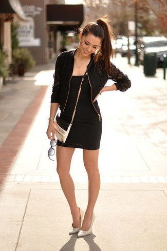 Rock a black lace bomber jacket with a black bodycon dress for a standout  ensemble.