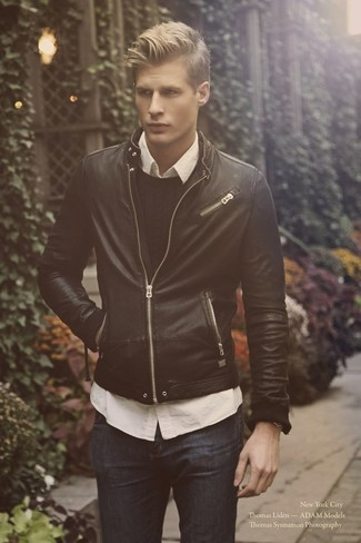 How to wear: black leather bomber jacket, black cable sweater, white long sleeve shirt, navy jeans