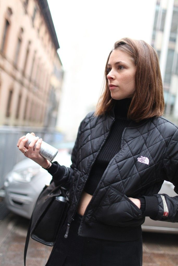 If you're a jeans-and-a-tee kind of gal, Black Knit Cropped Sweater Black Quilted  Bomber Jacket ... - How To Wear A Black Quilted Bomber Jacket (13 Looks) Women's Fashion