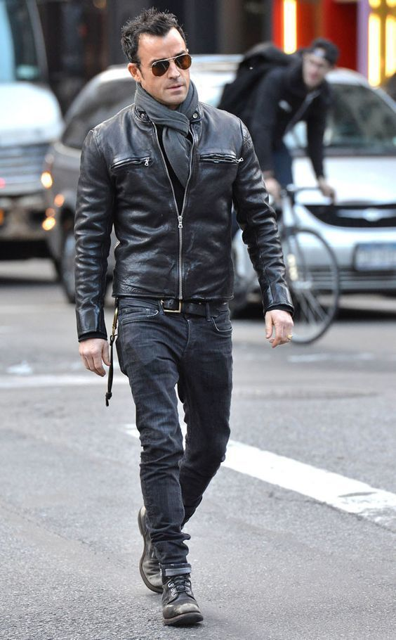 Justin Theroux Wearing Black Leather Bomber Jacket Black Jeans