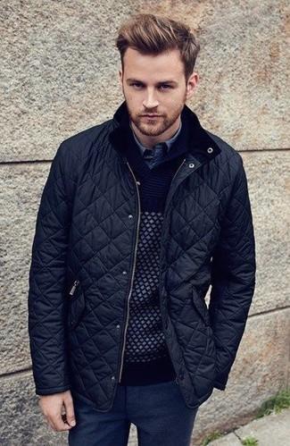 How to wear: black quilted bomber jacket, black shawl-neck sweater, blue denim shirt, black wool dress pants