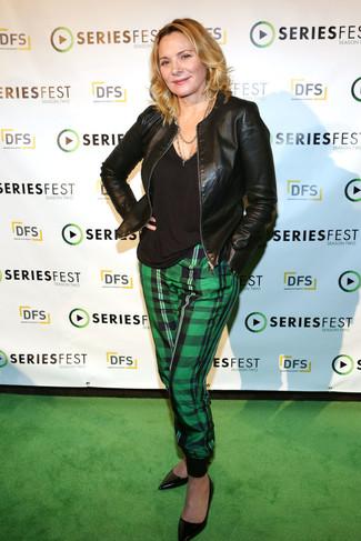 Lisa Kudrow wearing Black Leather Bomber Jacket, Black V-neck T-shirt, Green Plaid Tapered Pants, Black Leather Pumps