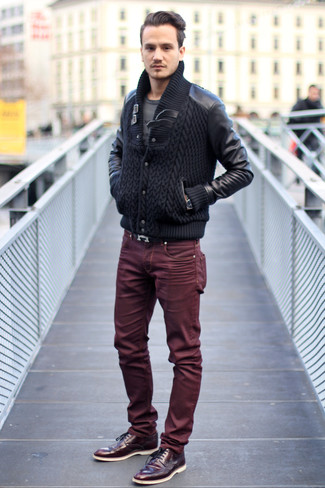 Men's Black Knit Bomber Jacket, Charcoal Print Crew-neck T-shirt, Burgundy Jeans, Burgundy Leather Brogues