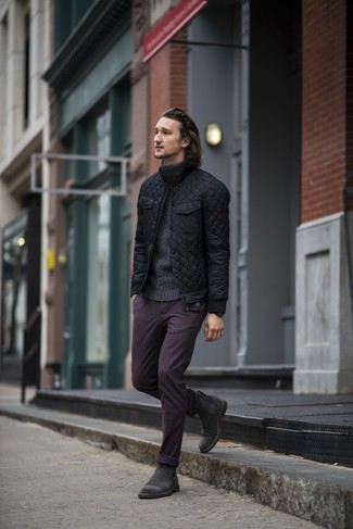 How to Wear a Charcoal Knit Turtleneck For Men: Wear a charcoal knit turtleneck with dark purple chinos to bring out the dapper in you. When it comes to shoes, go for something on the dressier end of the spectrum and complement your ensemble with black suede chelsea boots.