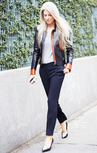 Women's Black Leather Bomber Jacket, Grey Crew-neck T-shirt, Navy Dress Pants, Black and White Leather Pumps