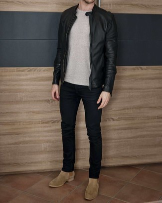 Navy Skinny Jeans Outfits For Men: If you're hunting for a laid-back but also seriously stylish ensemble, try teaming a black leather bomber jacket with navy skinny jeans. Finishing with a pair of tan suede chelsea boots is a surefire way to infuse a sense of refinement into this ensemble.