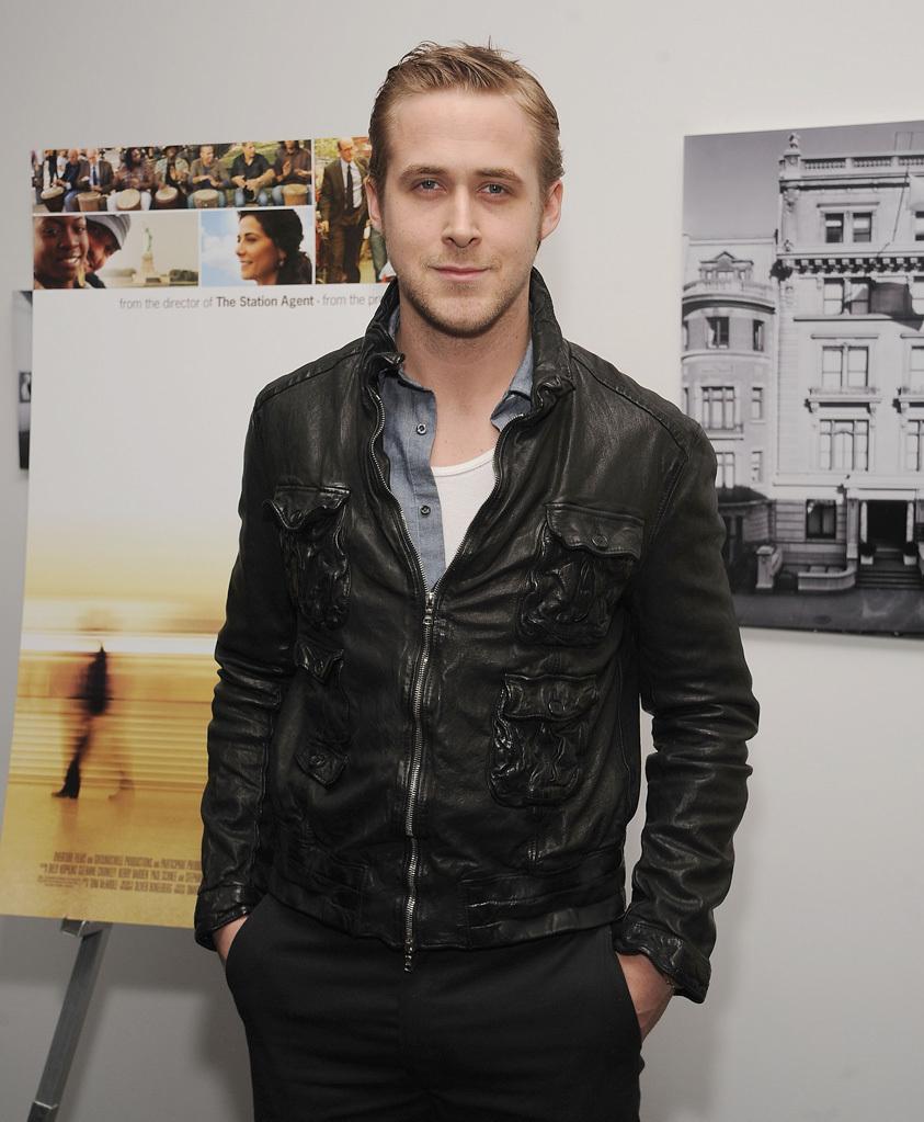 Ryan Gosling Wearing Black Leather Bomber Jacket Grey Chambray Long