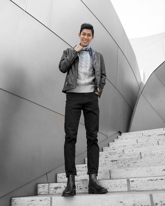 Black Leather Jacket with Black Jeans Outfits For Men In Their 30s: This off-duty pairing of a black leather jacket and black jeans is very easy to throw together in seconds time, helping you look awesome and prepared for anything without spending too much time digging through your closet. Let your outfit coordination sensibilities truly shine by finishing your ensemble with black leather chelsea boots. If you want to project maturity and professionalism, a look like this is a solid bet.