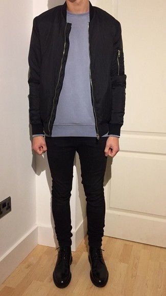 Black Jeans Spring Outfits For Men: You'll be surprised at how super easy it is for any guy to put together this relaxed casual look. Just a black bomber jacket and black jeans. If you need to immediately perk up your getup with one single item, add black leather casual boots to the equation. So if you're on a mission for a killer outfit that transitions easily into spring, this just might be it.