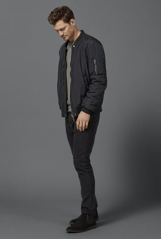 How to Wear Black Jeans Smart Casually For Men: This casual combination of a black bomber jacket and black jeans is capable of taking on different nuances depending on how it's styled. Finishing off with black suede chelsea boots is a simple way to bring a bit of flair to this getup.