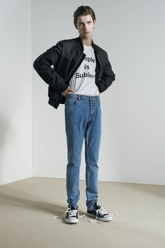 Teen Boy Fashion: What To Wear: If you appreciate comfort dressing, opt for a black bomber jacket and blue jeans. When not sure about what to wear on the shoe front, complete your outfit with a pair of black and white canvas low top sneakers.
