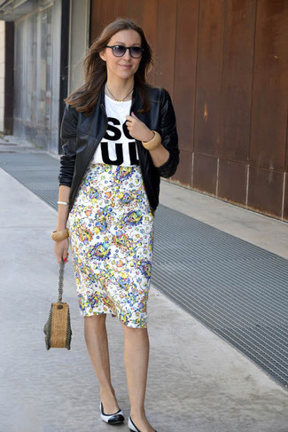 How to wear: black leather bomber jacket, white and black print crew-neck t-shirt, white floral pencil skirt, white and black leather ballerina shoes