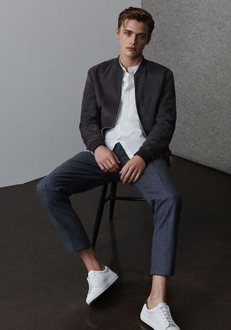 Charcoal Chinos Outfits: For a laid-back getup with a fashionable spin, opt for a black suede bomber jacket and charcoal chinos. Introduce white leather low top sneakers to this outfit to add a sense of stylish nonchalance to this outfit.