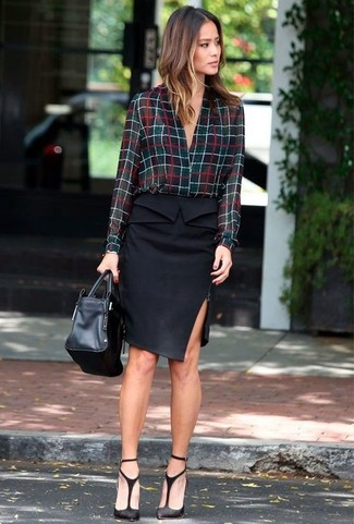 How to Wear a Button Down Blouse: For a casually elegant ensemble, try pairing a button down blouse with a black pencil skirt — these items work beautifully together. When in doubt about the footwear, complement this ensemble with a pair of black cutout suede pumps.