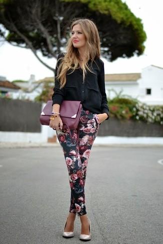 Women's Black Button Down Blouse, Black Floral Skinny Pants, Beige Leather Pumps, Purple Leather Clutch