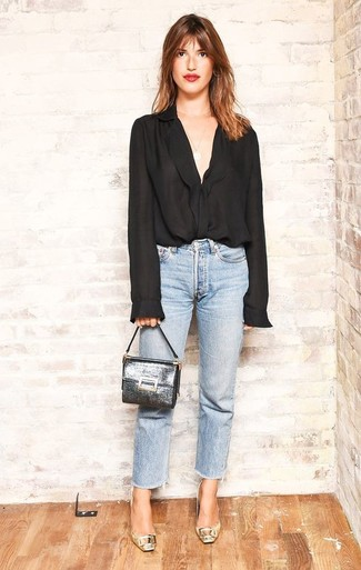 How to wear: black chiffon button down blouse, light blue jeans, gold leather pumps, silver leather clutch