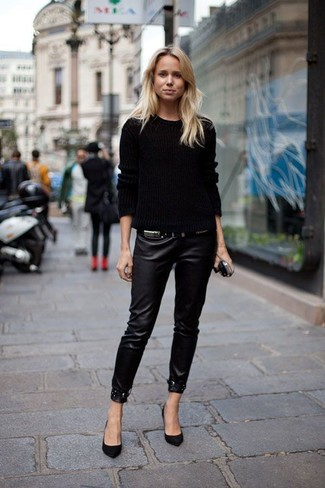 How to wear: black cable sweater, black leather skinny pants, black suede pumps