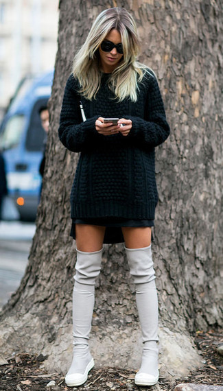 How to wear: black cable sweater, black mini skirt, grey suede over the knee boots