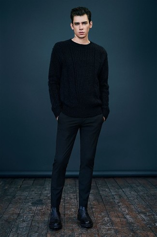 How to wear: black cable sweater, black wool dress pants, black leather chelsea boots
