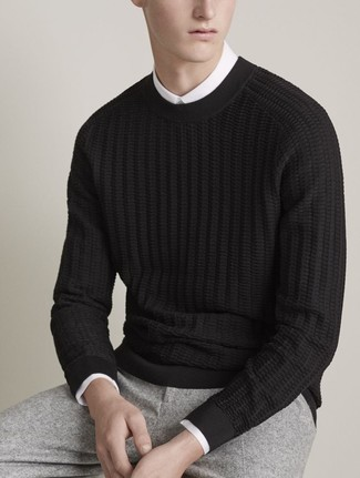 How to wear: black cable sweater, white dress shirt, grey wool dress pants