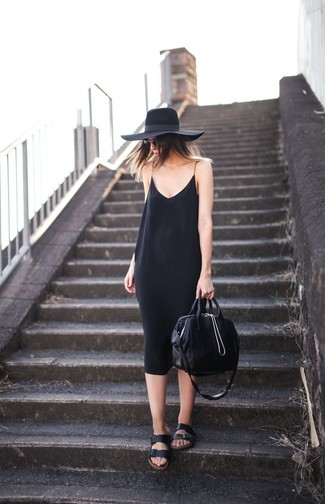 How to wear: black cami dress, black leather flat sandals, black leather tote bag, black wool hat